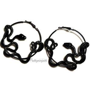 Black Snake Hoop Earrings New!